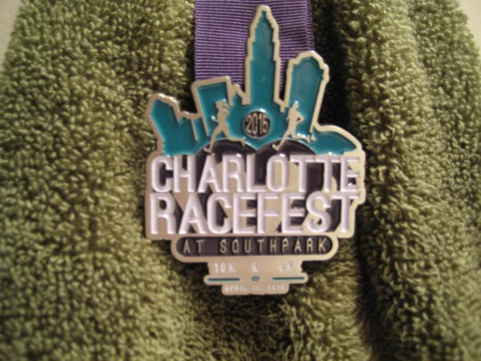 2015 Charlotte Racefest 10K medal