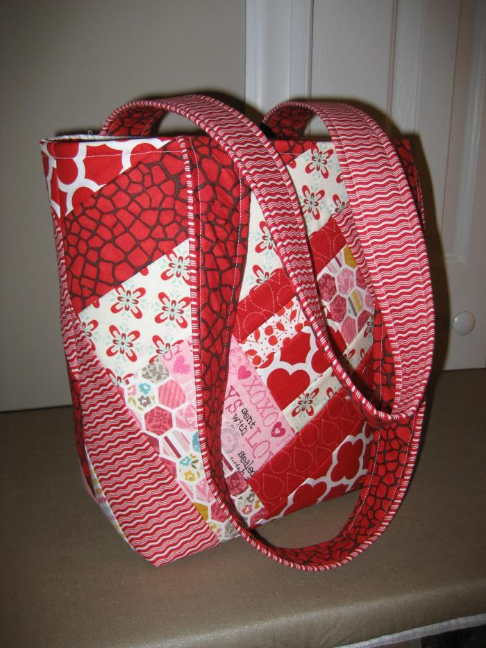 Front of bag and straps - I used two fabrics for the straps to match the 'scrappy' look of the bag