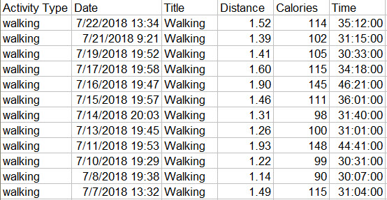 Garmin Walking July 2018